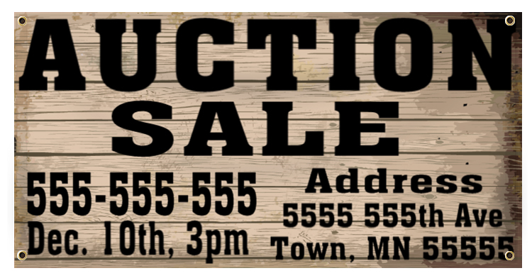 Auction Banner Idea | LawnSigns.com