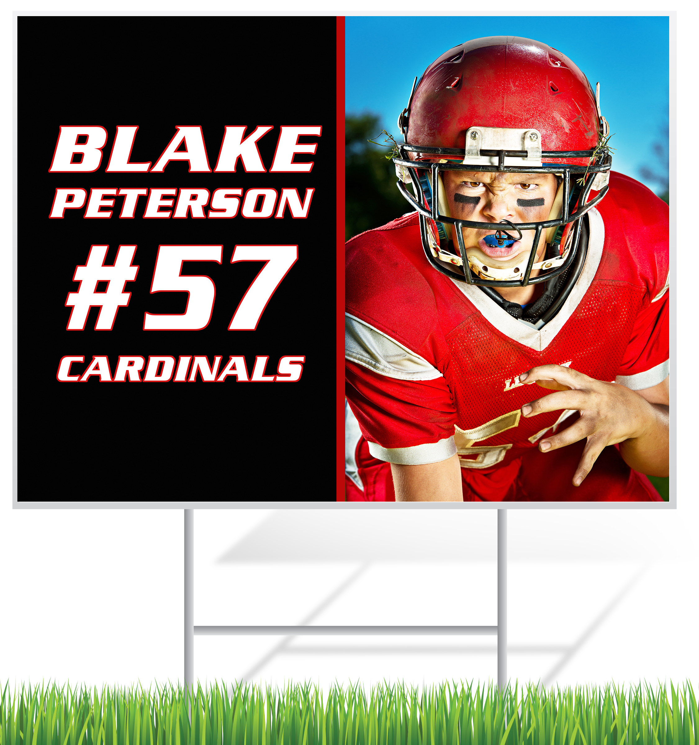 Football Lawn Sign Example | LawnSigns.com