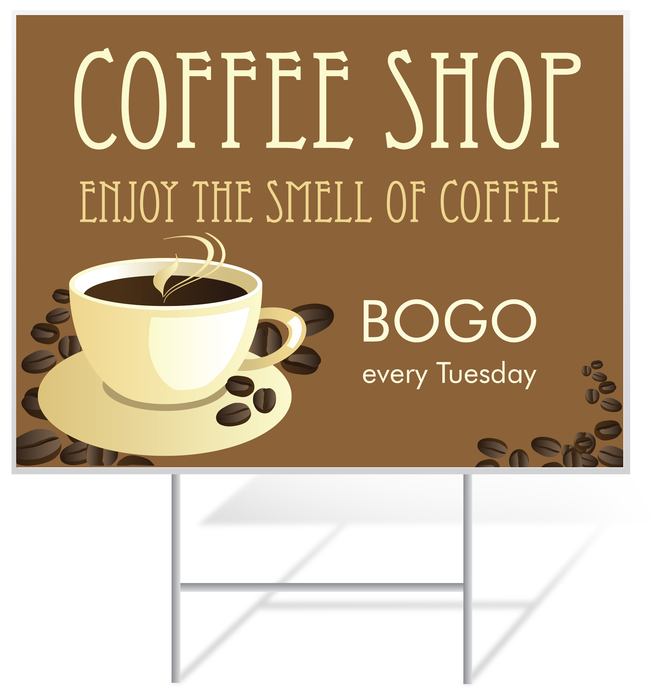 Coffee Shop Advertising Lawn Sign Example | LawnSigns.com